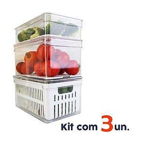Kit 3 Organizadores Geladeira Transparentes Tampa Fruta Verdura Clear Fresh - Ou