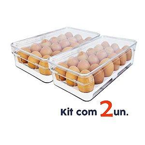 Kit 2 Organizador Porta Ovos Com Tampa Geladeira Clear Fresh - Ou