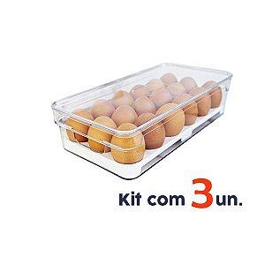 Kit 3 Organizador Porta Ovos Com Tampa Geladeira Clear Fresh - Ou