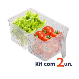 Kit 2 Organizador Porta Mantimentos Alça Armário Geladeira Cozinha 34x19x14cm - Paramount