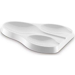 Suporte Apoio Triplo Descanso Colher Talheres Pia Bancada Cozinha Plus - UZ325 Uz - Branco