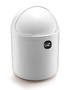 Lixeira Plástica 4 Litros Cesto De Lixo Tampa Capacete Cozinha Pia - UZ350 Uz - Branco