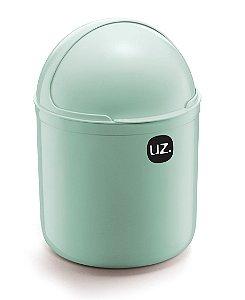Lixeira Plástica 4 Litros Cesto De Lixo Tampa Capacete Cozinha Pia - UZ350 Uz - Verde Menta