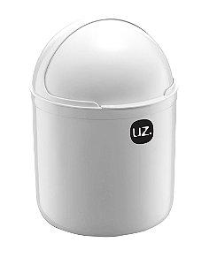 Lixeira Plástica 4 Litros Cesto De Lixo Tampa Basculante Pia Cozinha - UZ351 Uz - Branco