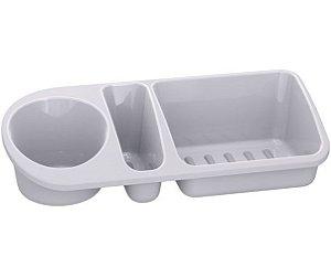 Organizador De Pia Suporte Porta Detergente Esponja Sabão Cozinha Plus - UZ322 Uz - Branco