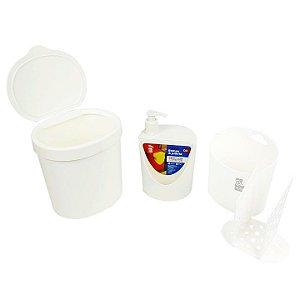 Kit Lixeira 2,5L Dispenser Porta Detergente Organizador De Talheres - 99138 Coza - Branco