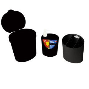 Kit Lixeira 2,5L Dispenser Porta Detergente Organizador De Talheres - 99138 Coza - Preto