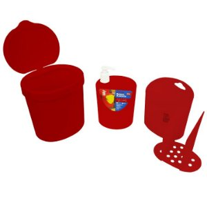 Kit Lixeira 2,5L Dispenser Porta Detergente Organizador De Talheres - 99138 Coza - Vermelho