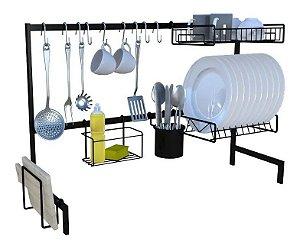 Cozinha Autosustentável Modular 20Pçs Escorredor Gancho Utensílio Elegance Preto - Dicarlo