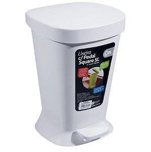 Lixeira 5L De Pedal Cesto De Lixo Com Tampa Banheiro Cozinha - 10424 Coza - Branco