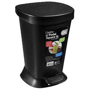 Lixeira 5L De Pedal Cesto De Lixo Com Tampa Banheiro Cozinha - 10424 Coza - Preto