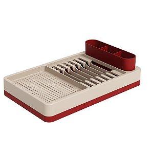 Escorredor De Louças Pratos Copos Talheres Bancada Cozinha - 17000 Coza - Vermelho