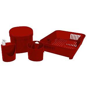 Kit Lixeira 2,5L Escorredor De Louças Talheres Dispenser Porta Detergente - 99256 Coza - Vermelho