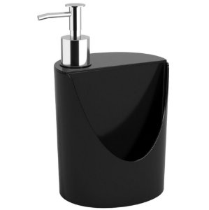 Dispenser Porta Detergente Suporte Esponja Pia Cozinha R&J Basic - 10837/0008 Coza - Preto