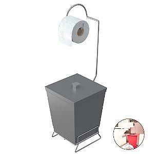 Suporte Porta Papel Higiênico De Chão Com Lixeira Banheiro Lavabo - 1445 Stolf