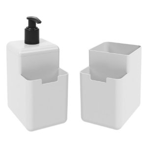 Kit Dispenser Porta Detergente Líquido Esponja Organizador De Pia Cozinha Single - Coza