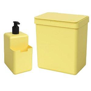 Kit Lixeira 2,5L Dispenser Porta Detergente Líquido Esponja Single Organizador Pia Cozinha Coza - Amarelo