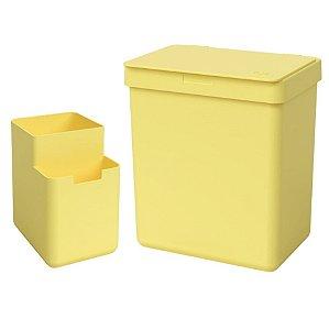 Kit Lixeira 2,5L Organizador De Pia Escorredor Talher Bancada Cozinha Single Coza - Amarelo