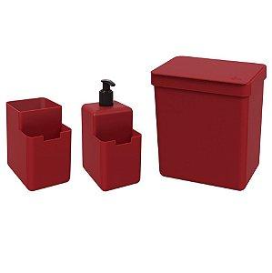 Kit Lixeira 2,5L Dispenser Detergente Líquido Porta Esponja Organizador Pia Single Coza - Vermelho