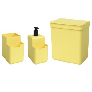 Kit Lixeira 2,5L Dispenser Detergente Líquido Porta Esponja Organizador Pia Single Coza - Amarelo