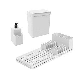 Kit Lixeira 2,5L Dispenser Porta Detergente Líquido Escorredor De Louças Single Coza - Branco