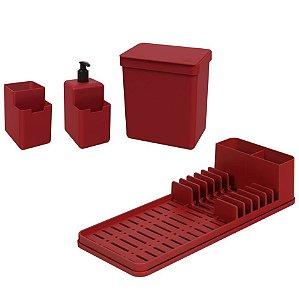 Kit Lixeira 2,5L Dispenser Detergente Escorredor De Louça Organizador De Pia Single Coza - Vermelho