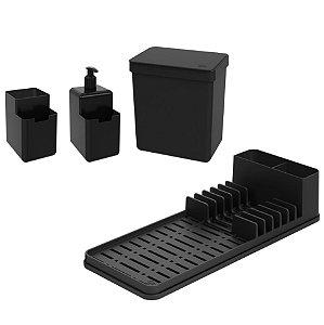 Kit Lixeira 2,5L Dispenser Detergente Escorredor De Louça Organizador De Pia Single Coza - Preto