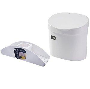 Kit Lixeira 4L Com Tampa Organizador De Pia Porta Detergente Cozinha Coza - Branco