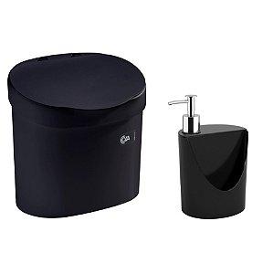 Kit Lixeira 4L Com Tampa Dispenser Detergente R&J Porta Esponja Pia Cozinha Coza - Preto