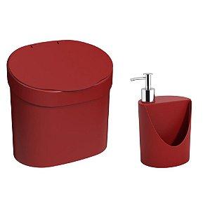 Kit Lixeira 4L Com Tampa Dispenser Detergente R&J Porta Esponja Pia Cozinha Coza - Vermelho