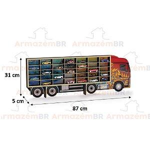 Painel Caminhão Expositor Porta 35 Carrinhos HotWheels Miniatura Coleção Parede  MDF - 096 Junges