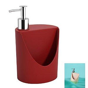Dispenser Porta Detergente Suporte Esponja Pia Cozinha R&J Basic - 10837 Coza - Vermelho