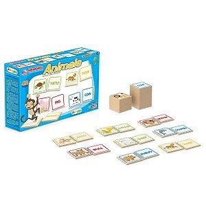 Jogo Memória Infantil Inglês Animal  42 Peças Educativo Pedagógico Escolar - 782 Junges