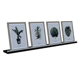 Prateleira Madeira Parede 90x9cm C/ Acrílico Porta Retrato Quadro Livro Estilo - Dicarlo