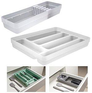 Kit Organizador Gavetas Porta Talheres Facas Utensílios Cozinha Logic - KTE 003 Ou - Natural