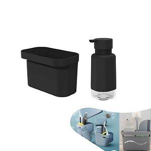 Kit Dispenser Organizador Pia Porta Detergente Líquido Utensílios Bancada Cozinha - Ou