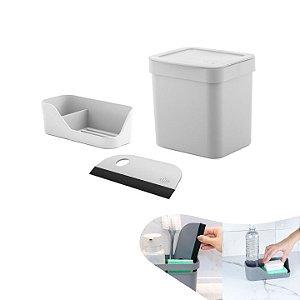 Kit Lixeira 2,5l Organizador Pia Porta Detergente Rodo Compacto Bancada Cozinha - Ou