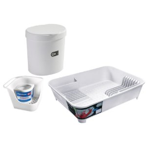 Kit Lixeira 2,5L Organizador De Pia Porta Detergente Escorredor De Louças Basic Branco - Coza