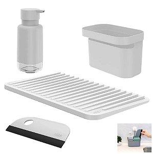 Kit Dispenser Organizador Pia Porta Detergente Escorredor Copos Rodo Cozinha - Ou