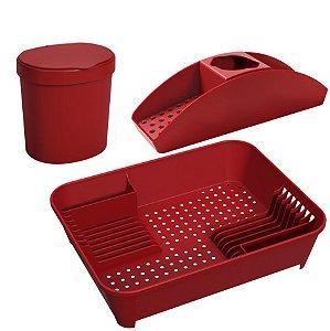 Kit Lixeira 2,5L Organizador De Pia Porta Detergente Escorredor De Louça Basic Vermelho  - Coza