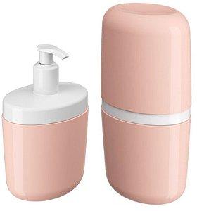 Kit Porta Sabonete Líquido Dispenser Suporte Escova Dente Creme Dental Com Tampa Rosa - Coza