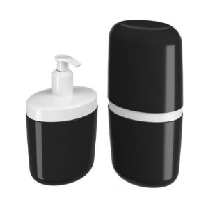 Kit Porta Sabonete Líquido Dispenser Suporte Escova Dente Creme Dental Com Tampa Preto - Coza