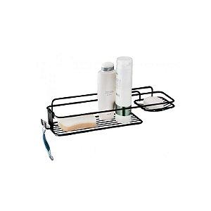 Suporte Porta Shampoo Sabonete Aramado Banho Prateleira Banheiro Parede Preto Fosco - 986PT Future