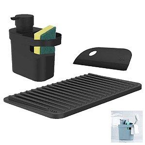 Kit Dispenser Porta Detergente Utensílios Escorredor Copos Rodo Pia Cozinha - Ou