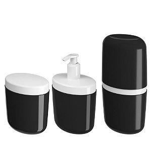Kit Porta Sabonete Líquido Dispenser Suporte Escova Dente Algodão Cotonete Preto - Coza
