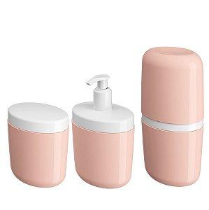 Kit Porta Sabonete Líquido Dispenser Suporte Escova Dente Algodão Cotonete Rosa - Coza