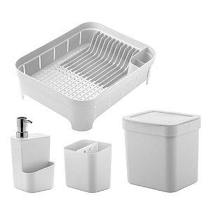 Conjunto Escorredor Louças Talheres Porta Detergente Lixeira 2,5 Litros Branco - KTE 011 Ou