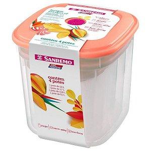 Conjunto 4 Potes Porta Alimentos Mantimentos Geladeira Cozinha Armário - SR485 Sanremo
