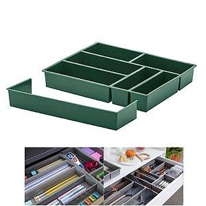Organizador De Gaveta Extensível Divisor Talheres Utensílios 40x33x6,5cm - Paramount - Verde