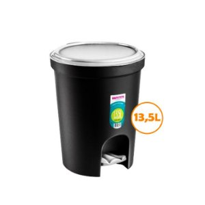 Lixeira 13,5l Plástica Tampa Com Pedal Cesto Lixo Cozinha Banheiro - SR275/20 Sanremo